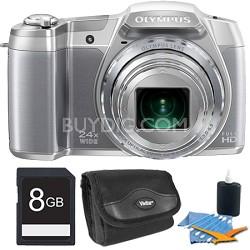 "STYLUS SZ-16 iHS16MP 24x wide/48x SR Zoom 1080p HD 3"" Hi-Res LCD Silver 16GB Kit"