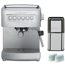 Programmable 15-Bar Refurb Espresso Maker, Stainless Steel w/ Refurbished Bundle