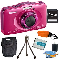 COOLPIX S31 10.1MP 720p HD Video Waterproof Digital Camera - Pink Plus 16GB Kit