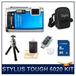 Stylus Tough 6020 Waterproof Shockproof Digital Camera (Blue) w/ 8 GB Memory