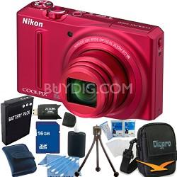COOLPIX S9100 12MP Red Digital Camera 16GB Bundle