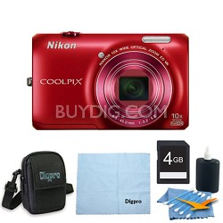 COOLPIX S6300 16MP 10x Opt Zoom 2.7 LCD Digital Camera 4GB Red Bundle