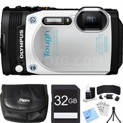 TG-870 Tough Waterproof 16MP White Digital Camera 32GB SDHC Memory Card Bundle