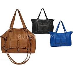 Tote Handbag with Grommets Details (Black) - 3040