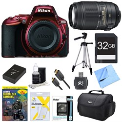 D5500 Red Digital SLR Camera, 55-300 Lens, 32GB, and Battery Bundle