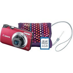 PowerShot A3300 IS 16MP Red Digital Camera Mother's Day Deluxe Kit