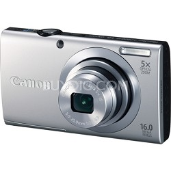 PowerShot A2400 IS 16MP Silver Digital Camera 5x Optical Zoom 720p HD Video