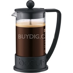 Brazil 3 Cup French Press Coffee Maker 12 oz Glass Carafe  (Black) - OPEN BOX