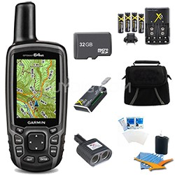 GPSMAP 64st Worldwide Handheld GPS BirdsEye + Canada Maps 32GB Accessory Bundle