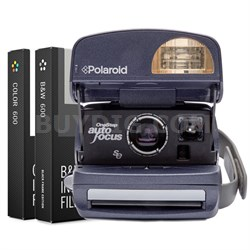 Polaroid 600 Round Camera -Blue w/ instant Lab Color Dual Film Bundle