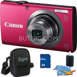 PowerShot A2300 16MP Red Digital Camera 4GB Kit
