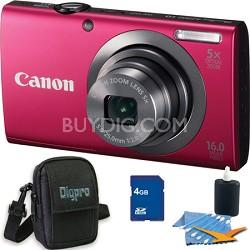 PowerShot A2300 16MP Red Digital Camera 4GB Kit