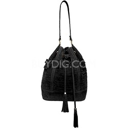Suede Cage Bucket Bag with Pull String Tassels (Black)