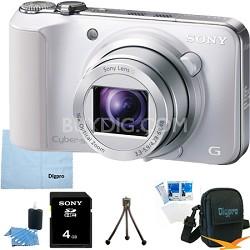 Cyber-shot DSC-HX10V (White) 18.2 MP 16x Zoom 3D Sweep HD Video with 4GB Bundle