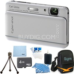 "Cyber-shot DSC-TX66 18.2 MP CMOS Camera 5X Zoom 3.3"" OLED Silver 4GB Memory Kit"