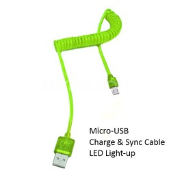 Micro USB Cable with LED Light - Green