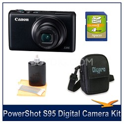 Powershot S95 Digital Camera 4GB Bundle w/ Case and Cleaning Kit