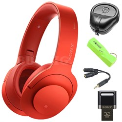 Wireless NC On-Ear Bluetooth Headphones w/ NFC Red w/ 32 GB Flash Drive Bundle