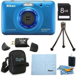 COOLPIX S30 10.1MP 2.7 LCD Waterproof Shockproof Digital Camera 8GB Blue Bundle