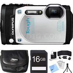 TG-870 Tough Waterproof 16MP White Digital Camera 16GB SDHC Memory Card Bundle