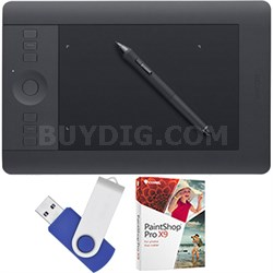 Intuos Pro Pen & Touch Tablet Small Creative Bundle w/16GB USB/Corel Paint