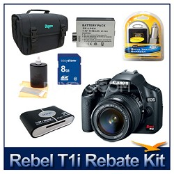 EOS Rebel T1i EF-S 18-55mm IS & 12GB Sandisk 9 Piece Accessory Kit