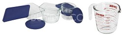 Storage 10-Piece Set, Clear with Blue Lids + Bonus Prepware 2-Cup Measuring Cup