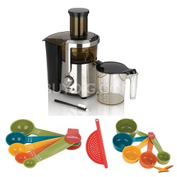 Enerjuicer Dual Speed Juice Extractor, Measuring Sets and Drainer Bundle