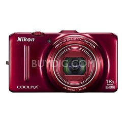 COOLPIX S9300 16MP 18x Opt Zoom 3.0 LCD Digital Camera - Red