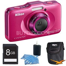 COOLPIX S31 10.1MP 720p HD Video Waterproof Digital Camera - Pink Plus 8GB Kit