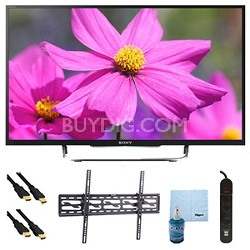 "50"" LED HDTV 3D WiFi Motionflow XR 480 Plus Tilt Mount HookUp Bundle KDL50W800B"