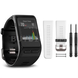 vivoactive HR GPS Smartwatch - Regular Fit (Black) White Band Bundle