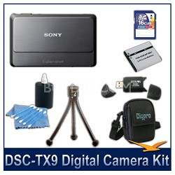 Cyber-shot DSC-TX9 Digital Camera (Grey) with 16GB Card, Case, and More