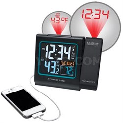 Projection Alarm Clock with Outdoor temperature and Charging USB Port - 616-146