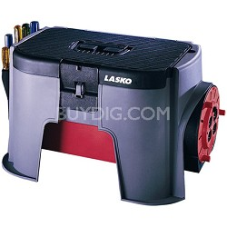 Lasko 9002 Power Toolbox Tool Storage Cord Wheel With Four Outlets And Step  Stool