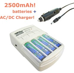 Rapid AC/DC Charger with four AA 2500mAh NiMH Batteries