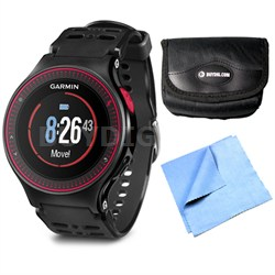 Forerunner 225 GPS Running Watch w/ Wrist-based Heart Rate - Black/Red Bundle