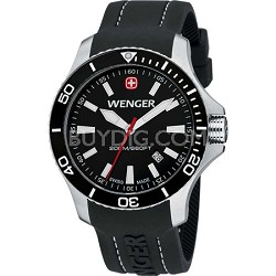 Men's Sea Force Swiss Watch - Black Dial/Black Silicone Strap