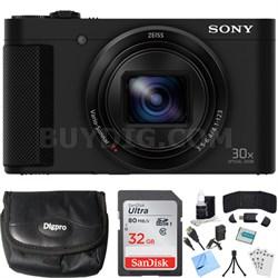 Cyber-shot HX80 Compact Digital Camera (Black) 32GB Memory Card Bundle