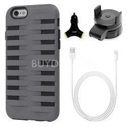Cobra Apple iPhone 6 Silicone Dual Protective Case - Black/Grey Accessory Bundle