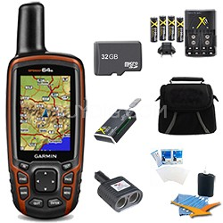 GPSMAP 64s Worldwide Handheld GPS with 1 Year BirdsEye 32GB Accessory Bundle