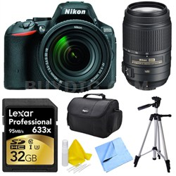 D5500 DSLR with 18-140mm and 55-300 VR Lenses, 32GB Card, Tripod and more Kit