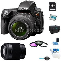 Alpha SLT-A55 DSLR Kit w/ Sony 18-55mm  & 55-200mm Lenses Ultimate Bundle