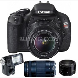 EOS Digital Rebel T3i 18MP SLR Camera Triple Lens Flash Pack