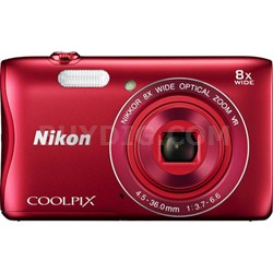 COOLPIX S3700 20.1MP Digital Camera HD Video (Red) Factory Refurbished