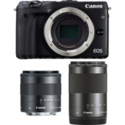 EOS M3 24.2MP Black Mirrorless Camera with EF-M 18-55 & EF-M 55-200mm Lens