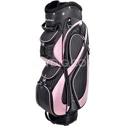 Ladies Executive Series Pin Stripe Cart Bag - Pink/Black