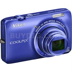 COOLPIX S6300 16MP 10x Opt Zoom 2.7 LCD Digital Camera (Blue) Refurbished