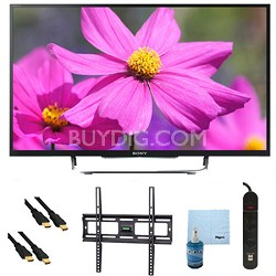 "50"" LED HDTV 3D WiFi Motionflow XR 480 Plus Mount & Hook-Up Bundle - KDL50W800B"