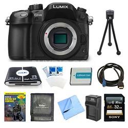 LUMIX DMC-GH4K DSLM Digital Camera Body 32GB and Battery Bundle